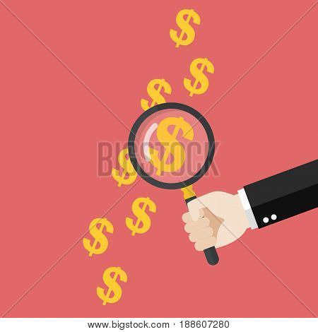Hand holding magnifying glass over money print. Vector illustration