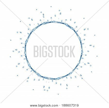 Nice abstract blue water ring on white background