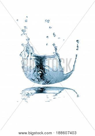 Nice abstract blue water splash on white background. Isolated with clipping path