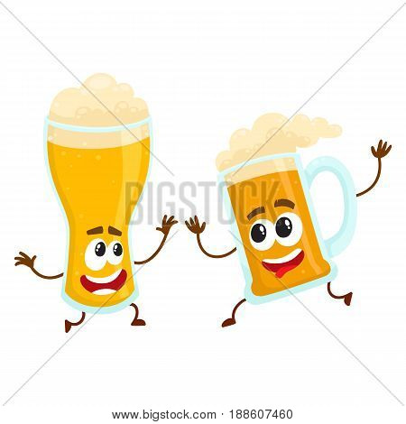 Funny beer glass and mug character with smiling human face having fun, dancing together, cartoon vector illustration isolated on white background. Cute and funny beer mug and glass characters, mascots