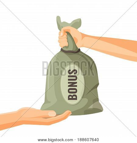 Giving money in bag with bonus text concept. One person donate money to another man vector illustration. Financial reward in business