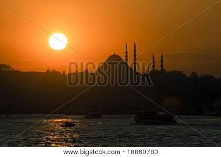 Sunset on The Blue Mosque in Istanbul Turkey horizontal composition. poster