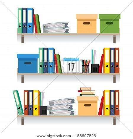 Paperwork concept, files with data in stacked textbooks isolated on white. Documents and folders on shelves set vector illustration