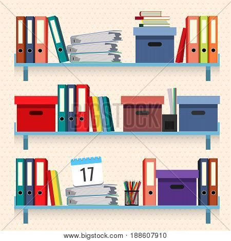 Documents and folders on shelves set vector illustration isolated on white background. Paperwork concept, files with data in stacked textbooks