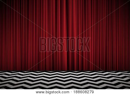 Red room. Horisontal background with red velvet curtains and black and white floor