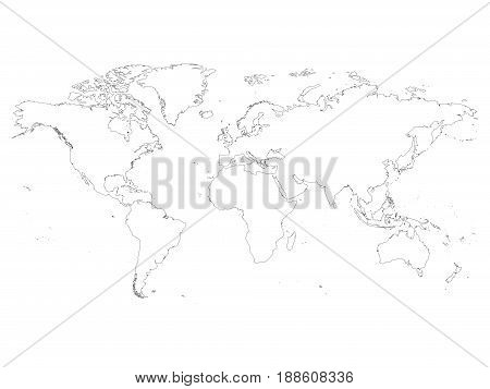 High detailed outline of world map. Simple thin black vector stroke on white background.