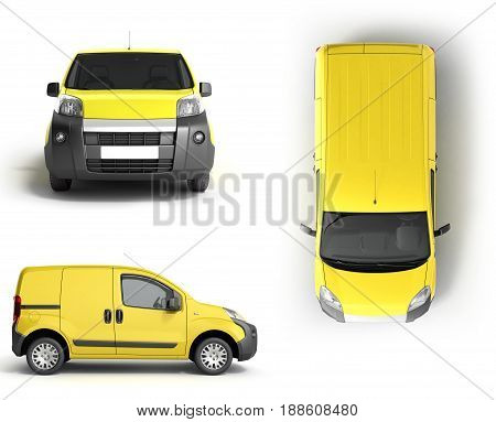Collection Yellow Delivery Car In Front On A White Background 3D Illustration