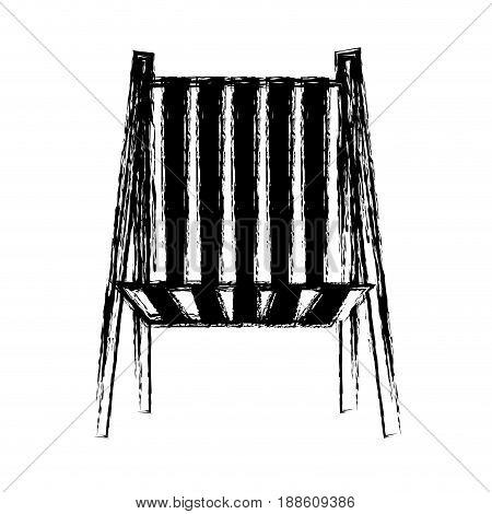 blurred thick silhouette of beach chair front view vector illustration
