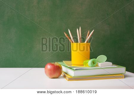 School Supplies On Back To School Chalk Board