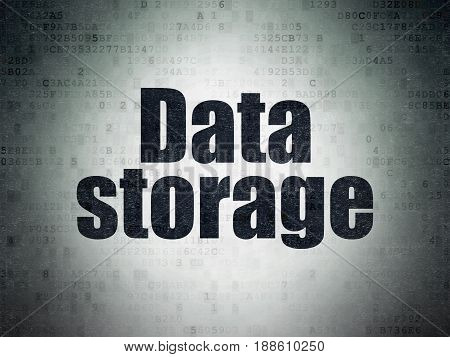 Information concept: Painted black word Data Storage on Digital Data Paper background