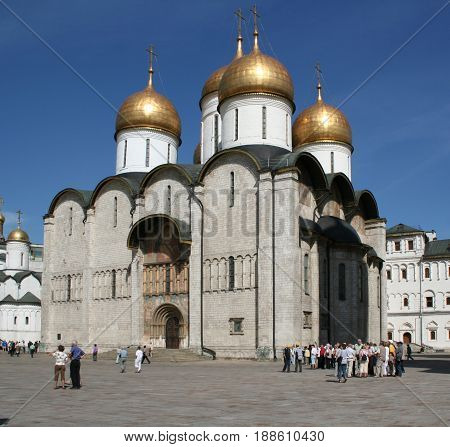 Moscow, Russia - June 09, 2007: View of the Patriarchal Assumption Cathedral of the Moscow Kremlin
