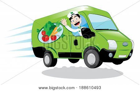 a vector cartoon representing a funny green fresh food delivery van driven by a friendly man cheering - fresh vegetables and fruit delivery concept