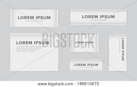 Set of different textile tags. Collection of narrow, wide, large, small, vertical, horizontal labels for clothes. Vector white sticker with place for text