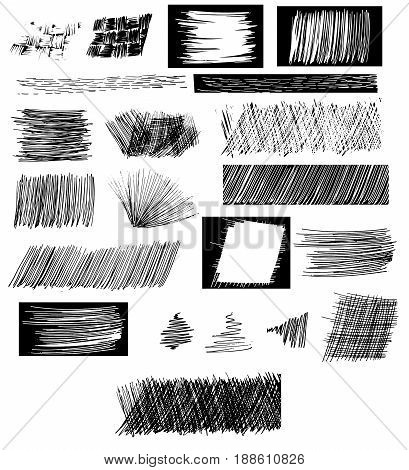 Set of hatchings. Vector illustration. Hand drawing. Texture of scrawl and pencil. Light distressed dackground for web banners. Doodle style sketched strokes frames shaded. Cross lines canvas