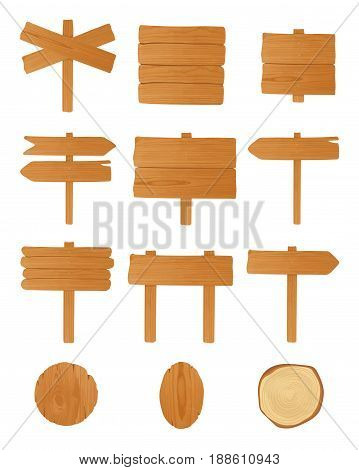 Set of different wooden signboards, planks, pointers. Colorful empty singposts collection. Vector illustration in cartoon style