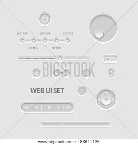 Light Web UI Elements. Buttons Switches bars power buttons sliders Vector illustration