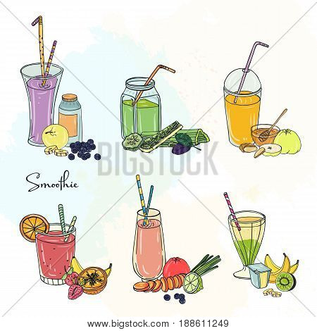 Different smoothie set. Collection of various summer drinks with fruits, berries, vegetables. Colorful beverage in glassful, cups, banks with straw. Hand drawn vector illustration