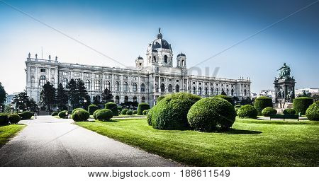 Panoramic view of famous Kunsthistorisches Museum (Museum of Art History) with park and sculptures in Vienna Austria