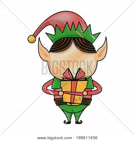 christmas elf helper with gift box cartoon vector illustration