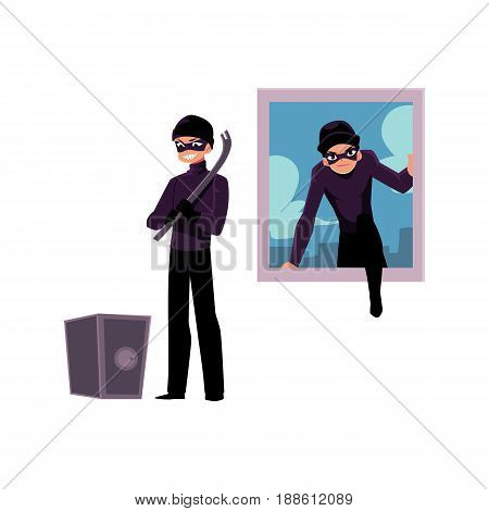 Thief, burglar climbing into house window, going to force open safe box, cartoon vector illustration isolated on white background. Burglar, robber breaking in house window, force opening safe box