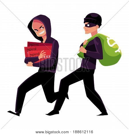 Thieves, robbers stealing money and credit card information, cartoon vector illustration isolated on white background. Cash money stealing and credit card fraud, robbery and fraudulent transactions