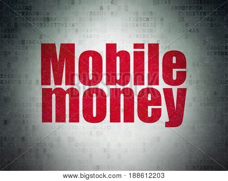 Banking concept: Painted red word Mobile Money on Digital Data Paper background