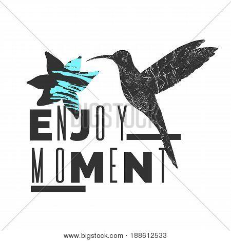 Enjoy moment. Stylish poster, trendy graphics. Vector illustration.