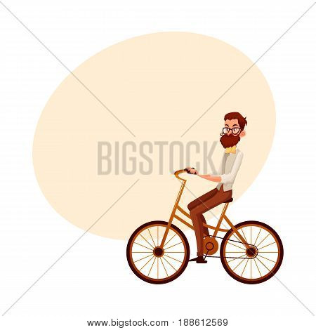 Bearded man in vest and bow tie riding a bicycle, cycling, cartoon vector illustration with space for text. Full length, side view portrait of bearded man, scientist riding a bicycle, cycling