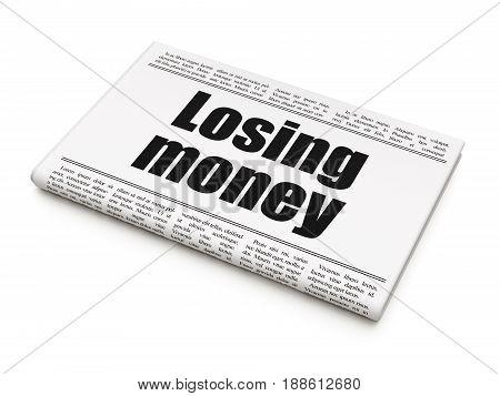 Banking concept: newspaper headline Losing Money on White background, 3D rendering