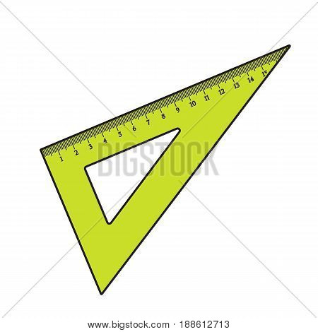 Simple hand drawn plastic angle ruler, office supply, school stationary, sketch style vector illustration isolated on white background. Realistic hand drawing of green school angle ruler