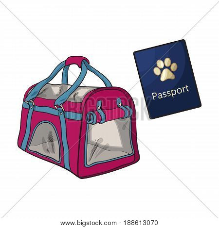 Travel with cats, dogs - transportation bag, carrier and pet passport, sketch vector illustration isolated on white background. Hand drawn pet carrier, transport bag and passport, id for cats and dogs