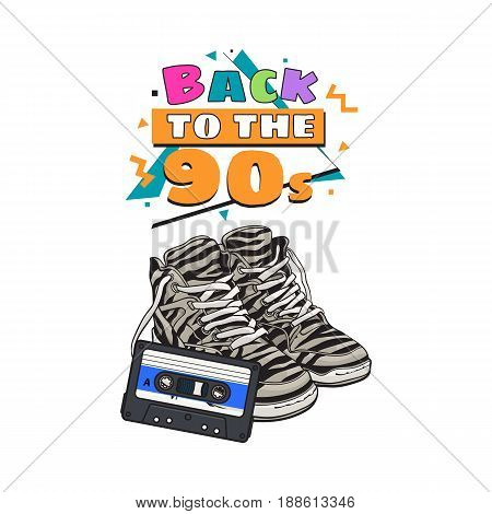 Pair of zebra sneakers and audio tape from 90s, retro style disco attributes, sketch vector illustration isolated on white background. Retro style sneakers and magnetic audio tape from nineties