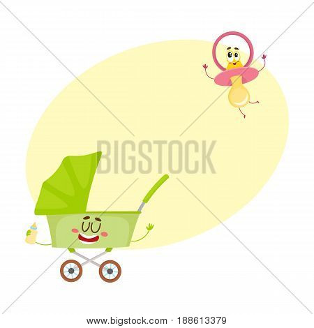 Funny baby cart, stroller, buggy and dummy, pacifier character, newborn accessories, cartoon vector illustration with space for text. Baby cart, stroller and dummy, pacifier characters