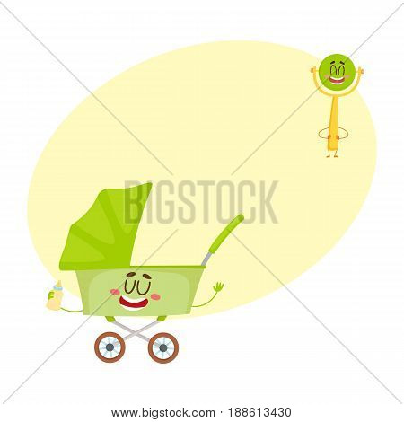 Funny baby cart, stroller, buggy and rattle toy character, newborn accessories, cartoon vector illustration with space for text. Baby cart, pushcart, stroller and rattle character, mascot