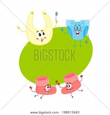 Funny baby booties, diaper, bib characters, infant clothes, child care concept, cartoon vector illustration with space for text. Baby booties, diaper, bib characters, infant necessities