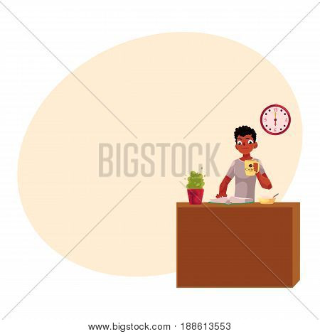 Young black, African American businessman having breakfast, holding coffee cup, reading, cartoon vector illustration with space for text. Black, African businessman, student having breakfast