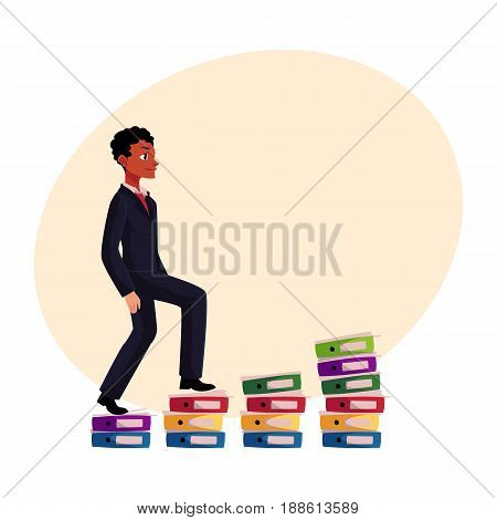 Black, African American businessman climbing piles of documents, career ladder, cartoon vector illustration with space for text. Folders like corporate ladder, businessman making career