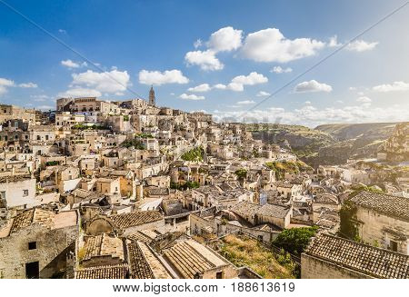 Ancient town of Matera (Sassi di Matera) in beautiful morning light Basilicata southern Italy