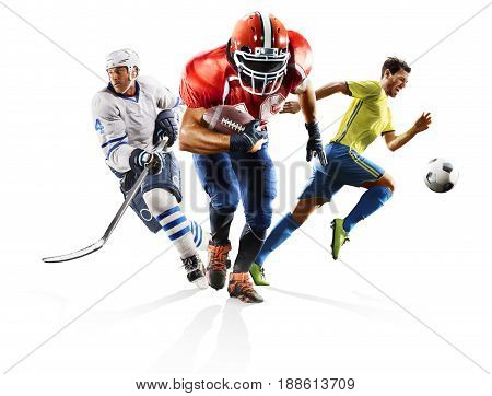 Multi sport collage professional soccer american football ice hokey players in action isolated on white