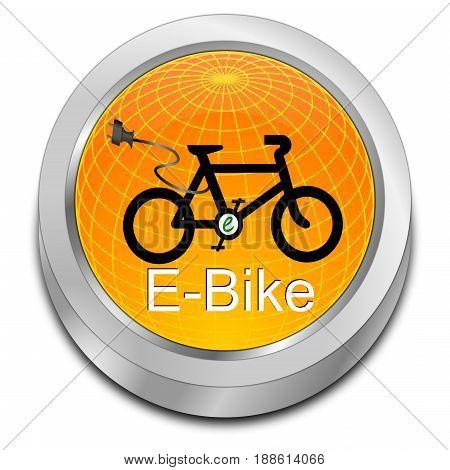 decorative glossy orange E-Bike Button - 3D illustration