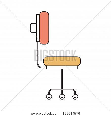 silhouette color section of office chair with wheels vector illustration