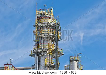 View Of The New Columns And Chemical Apparatus Plant For Oil Refining At Refinery
