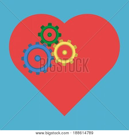 Colored Cogs In Heart
