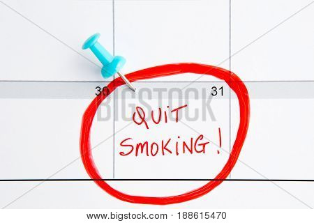 Quit Smoking Calendar - with handwriting in red with blue push pin