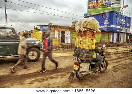 Traffic Along Roadside Shops In Nairobi, Kenya
