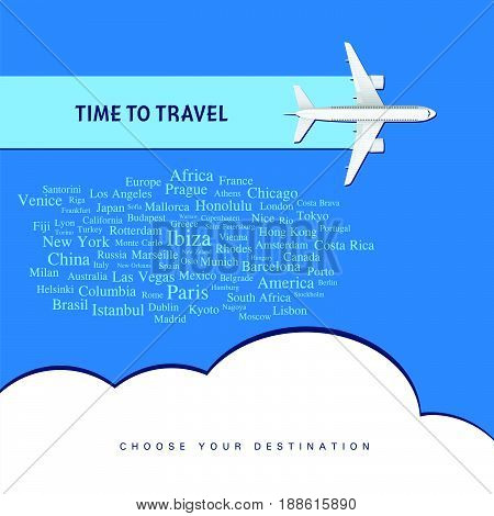 Airplane With Time To Travel Illustration