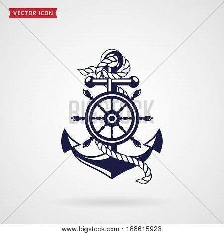 Anchor with a rope and a steering wheel. Icon isolated on white background. Sea travel and nautical themes. Vector design element.