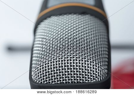 Microphone closeup on white background for musicians.