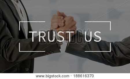 Trust Us Text Over Conceptual Business Scene