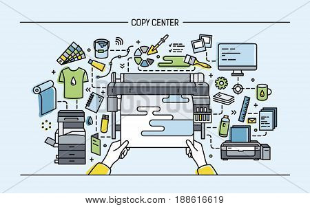 Concept of copy center, print shop, publishing. Horizontal banner with printer, monitor, scanner, different equipment. Colorful vector illustration in lineart style
